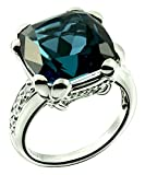 Sterling Silver 925 Ring LONDON BLUE TOPAZ and GENUINE WHITE ZIRCON 14.85 Cts with RHODIUM-PLATED Finish (8, london-blue-topaz)