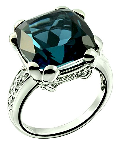 Sterling Silver 925 Ring LONDON BLUE TOPAZ and GENUINE WHITE ZIRCON 14.85 Cts with RHODIUM-PLATED Finish (8, london-blue-topaz) by RB Gems