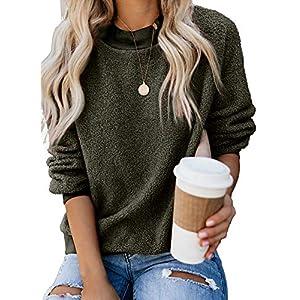 Dokotoo Womens Solid Color Casual Fleece Fluffy Crewneck Long Sleeve Fashion Sweatshirts Tops Pullovers