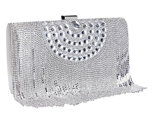 Ladies Party Purse Clubs Prom Diamante Envelope Shoulder Women Tassel Wedding For Gift Bridal Sequin Glitter Evening Bag Handbag Bag Silver Clutch TaEwZU