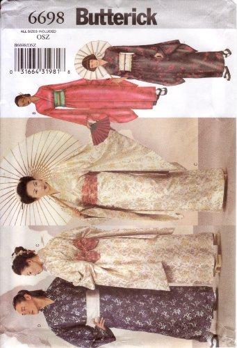 Butterick Sewing Pattern 6698 Adult Kimono, Obi & Sash