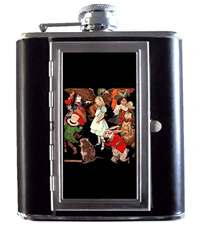 Alice in Wonderland On Trial Queen of Hearts 5oz Stainless Steel & Leather Hip Flask with Built-In Cigarette Case
