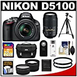 Nikon D5100 Digital SLR Camera and 18-55mm G VR DX AF-S Zoom Lens with 55-300mm VR Lens + 32GB Card + .45x Wide Angle and 2x Telephoto Lenses + Remote + (2) Filters + Tripod + Accessory Kit, Best Gadgets