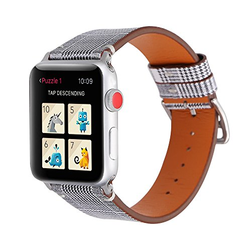 Ginamart Leather Strap for iWatch 38mm 42mm, Plaid Pattern Microfiber Replacement Wrist Band Bracelet for Apple Watch Series 3 2 1 All Version (Black, 42mm)