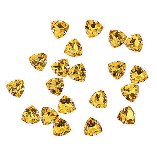 Triangle Knob Puzzle - 20pcs 12mm Triangle Sew On Crystal Rhinestone Glass Bead for Sewing Supplies | Color - Gold
