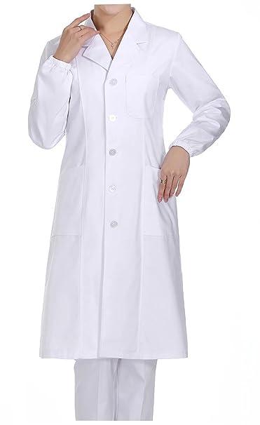 WDF Bata de Laboratorio médicos Bata Uniforme de Trabajo Enfermera Blanco Mujer Manga Larga Largo párrafo elástico Esposas: Amazon.es: Ropa y accesorios