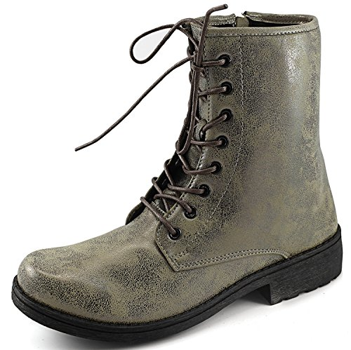 Qupid Missile-04 Militaire Up Bootie Taupe Brz