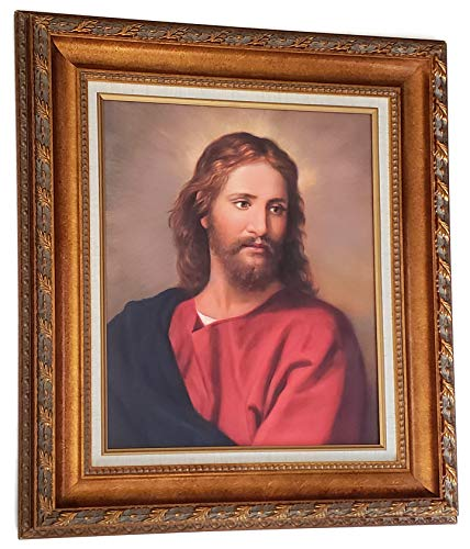Golden wood frame of Jesus painting on canvas - Wall art decor ready to hang - Jesus framed picture for your home - Painting is a replica of Heinrich Hoffman vintage painting - Size 26X30