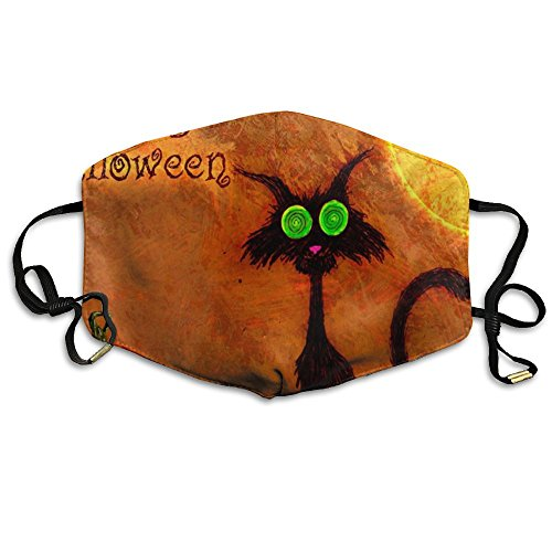 N7bloom Unisex Face Mask Anti-Dust Respirator Gift Happy Halloween Black Cat with Pumpkin Bat On The Moon.jpg