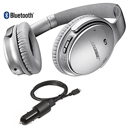ca6d7d7b41a Bose QuietComfort 35 Bluetooth Wireless Noise Cancelling Headphones – Siver  & Car Charger – Bundle