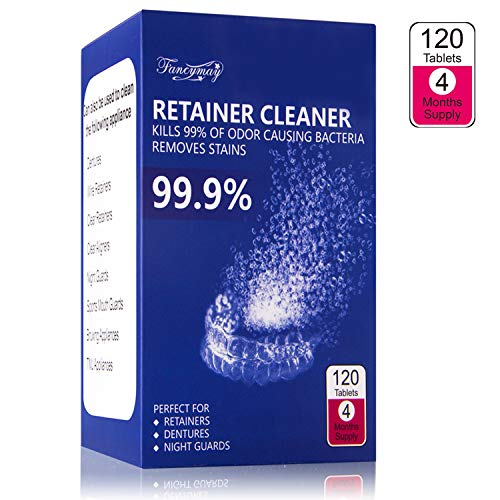 Retainer Cleaning Tablets 120 Tablets Value Pack -4 Months Supply, Remove Stains and Bad Odor, Prevent Brace Discoloration, Invisalign Cleaner Tablets, Mouth Guard Cleaner, Mint Flavor