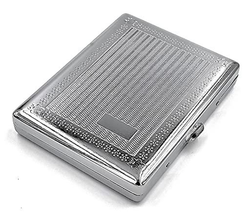 estuche de metal vintage para cigarrillos Grooved Silver
