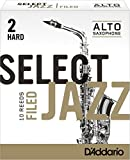Rico Select Jazz Alto Sax Reeds, Filed, Strength 2 Strength Hard, 10-pack - RSF10ASX2H
