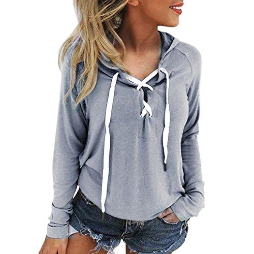IEason Women Top, Women Hoodie Sweatshirt Lace Up Long Sleeve Crop Top Coat Sports Pullover Tops (L, Gray)