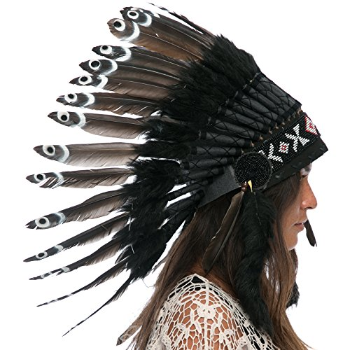 Feather Headdress- Native American Indian Style- Handmade by Artisan Halloween Costume for Men Women with Real Feathers - Black Duck (Balinese Hat)