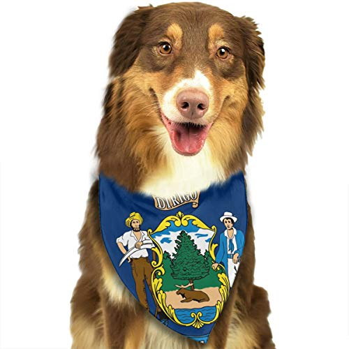Flag of Maine Dog Scarf Puppy Bandana Collar Dog Towels Pet Supplies for Cat ()