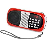eJiasu Cost-performance Fm Portable Radio Mini Digital Speaker MP3 Player (Red)