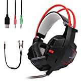 Gaming Headset,MEKUULA Lightweight Stereo 3.5mm Over-Ear Headphones with Microphone Noise Cancelling,Bass Surround, LED Lights, Compatible with Xbox, PC Games and Other Eletronic Device