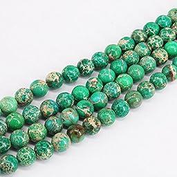 15.5\'\' Natural Sea Sediment Jasper Gemstone Round Loose Spacer Beads (6mm, Dark Green)