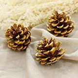 15-Piece Gold Tipped Real Natural Dried Pine Cones for Potpourri, Bowl Fillers, and Crafting, Unscented