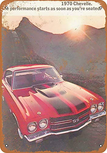 F-More Metal Cutout Signs 8 x 12 Metal Sign - 1970 Chevrolet Chevelle Ss - Vintage Look Reproduction 2 Yellow and Gray Wall Art