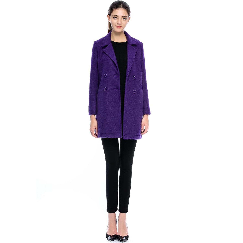 Lacle Women Double-Breasted Wool-Blends Winter Classic Coat Long Jacket Outwear