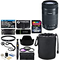 Canon EF-S 55-250mm F/4-5.6 IS STM Telephoto Zoom Lens for EOS 7D, 60D, EOS 70D, Rebel SL1, T1i, T2i, T3, T3i, T4i, T5, T5i, T6i, T6s, XS, XSi, XT & XTi Bundle with Accessories (14 Items)