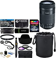 The Canon EF-S 55-250mm f/4-5.6 IS STM Lens is a long-reaching zoom lens that provides a 35mm-equivalent focal length range of 88-400mm, covering portrait-length to telephoto perspectives to suit working with distant subject matter. Greatly b...