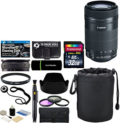 Canon EF-S 55-250mm F/4-5.6 IS STM Telephoto Zoom Lens for EOS Digital SLR Cameras & Accessories: 32GB Card + Card Reader + Pouch + Lens Band + Hood + UV Filter Kit + More – Complete Accessory Bundle