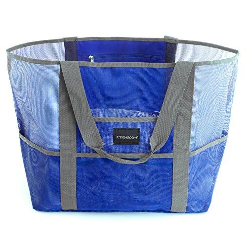 Dejaroo Beach Bag - Mesh Beach Bag - Large lightweight beach tote with 8 pockets including an inside zippered pocket (Plastic Tote Beach)