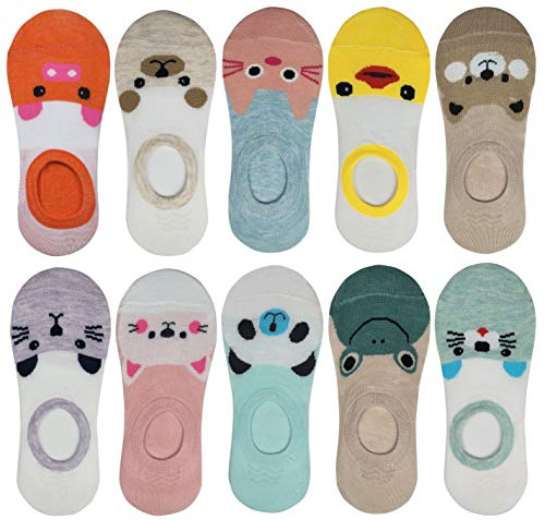 RATIVE Thin Flat Liner No Show Low Cut Cotton Socks For Kids Girls (Shoe size :12-6, Pack 10/funny animals)