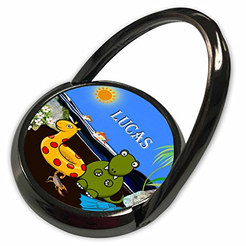 3dRose SmudgeArt Male Child Name Design - Lucas - Tyrannosaurus Rex at the Beach - Phone Ring (phr_50070_1)