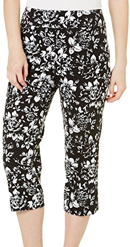 Counterparts Womens Floral Print Pull-On Stretch Capris 14 Black/White