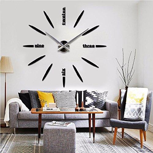Stunning grande horloge murale moderne d diy pendule murale design miroir numrique acrylique for Grosse horloge blanche