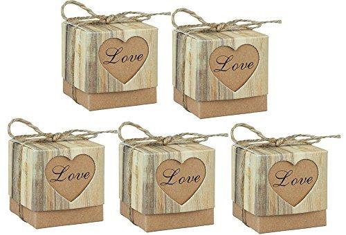 123Arts 150 pcs Candy Boxes Love Rustic Kraft Bonbonniere With Burlap Jute Shabby Chic Vintage Twine Wedding Favor Imitation Bark Gift Box - 5 Cm x 5 Cm x 5 Cm -100pcs / 150pcs