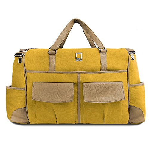 lencca-canvas-travel-luggage-bag-shoulder-bag-with-laptop-tablet-compartment-mustard-yellow-cool-cam