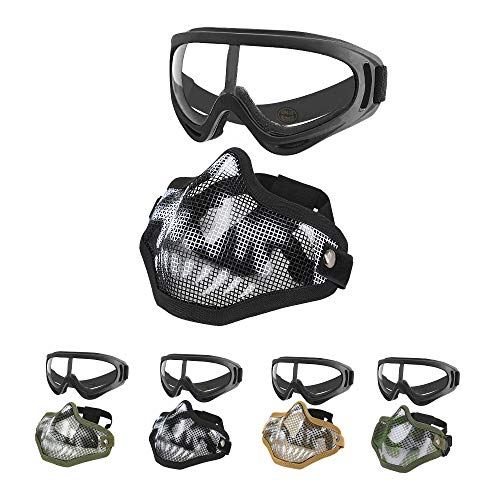 MGFLASHFORCE Airsoft Mask and Goggles Set | Steel Mesh Half Face Tactical Mask and UV400 Goggles for Halloween Cosplay Xmas Party