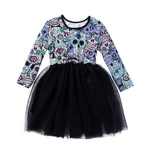 CSSD Halloween Newborn Baby Girls Long Sleeve Cartoon Skull Printing Princess Dress (Black, 5T) -