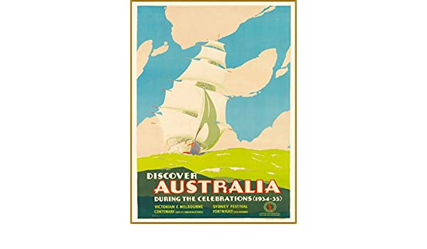 16x24 Discover Australia Tall Ship 1934 Vintage Style Travel Poster