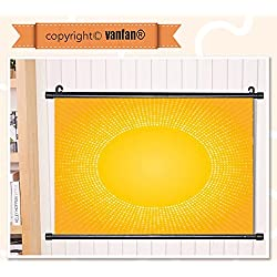 vanfan Wall Scroll Poster- Yellow Decor Moden Digital Image of the Sun w Wall Art Waves Paiting on Canvas, Pictures Wall Hanging Canvas Scroll Paintings For Living Room(24x16)