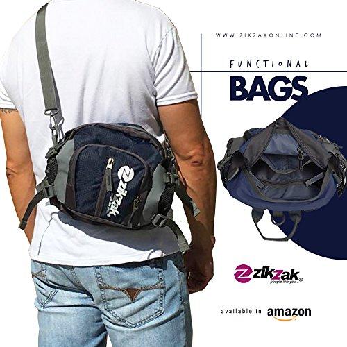 ZIKZAK Multifunctional Waterproof Waist Pack, Waist Bag, Sport Handbag, Shoulder with Water Bottle Holder Pocket for Running Hiking Cycling Travel Climbing Camping Training Dark ()