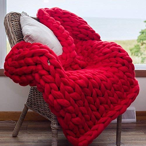 Red Super Chunky Knit Blanket Merino Wool Blanket 59x71in Handmade Throw Extreme Knitting Chunky Blanket Super Bulky Yarn Throw by Clisil (Image #2)