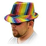 Rainbow Pride Striped Sequined Fedora Hat