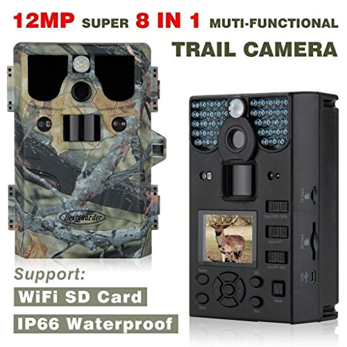 Trail Camera 12MP 1080P HD Waterproof IP66 Infrared Night Vision IR LED Game and Trail Hunting Scouting Camera with Game Call Function for Cold Blooded Animals Surveillance Camera