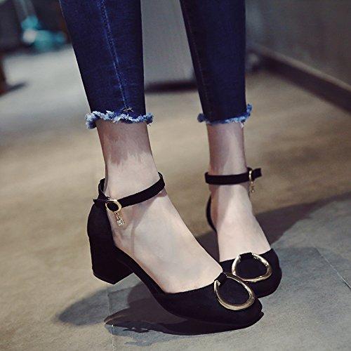 Velours Forage Chaussures Fashion De High EU34 Heeled Baotou Cravate SHOESHAOGE Femme Crénelé Sandales wa1qF8