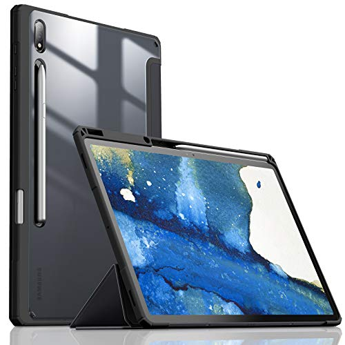 "INFILAND Galaxy Tab S7+/ S7 Plus Case with S Pen Holder, Ultra Slim Smart Case W/Transparent Back Fit Samsung Galaxy Tab S7+/ S7 Plus 12.4"" SM-T970/T975/T976 2020 Tablet [Auto Wake/Sleep], Black"