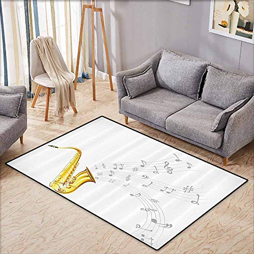 (Outdoor Patio Rug,Jazz Music Decor Collection,Illustration of Wavy Music Tune from Saxophone Solo Party Beat Fun Art Home Decor,Anti-Static, Water-Repellent Rugs,3'11