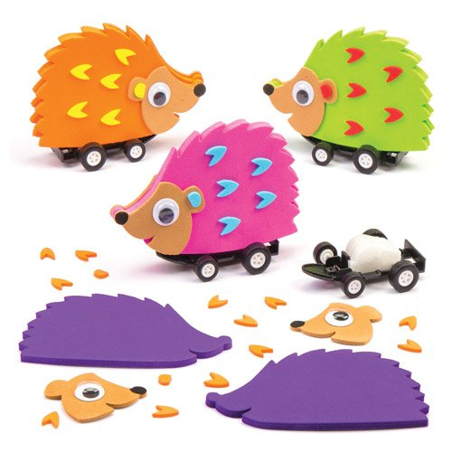 Hedgehog Pull Back Racer Kits Fun-Packed Toys at Pocket Money Prices Perfect Party Bag Fillers for Children (Pack of 4)