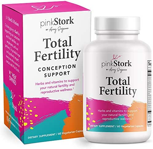 Pink Stork Total Fertility: Fertility Supplements + Healthy Cycles + Vitamin C + Vitex + Prenatal Vitamins, Women-Owned, 60 Capsules