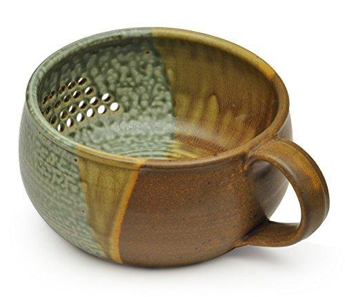 GW Pottery Handmade Stoneware Berry Bowl/Colander, Green-Rust ()